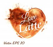 stock photo of latte  - Heart drawn with poured coffee with the inscription love latte with splashes and blots - JPG