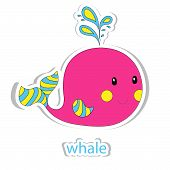 stock photo of whale-tail  - Cartoon whale isolated on white - JPG
