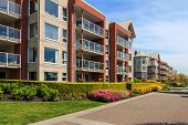 image of suburban city  - Modern apartment buildings in New Westminster British Columbia Canada - JPG