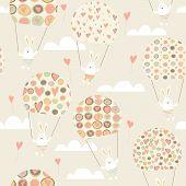 image of parachute  - Romantic seamless pattern with cute rabbits parachutists  - JPG