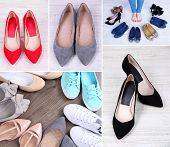stock photo of bow-legged  - Collage of different shoes - JPG