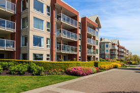 stock photo of suburban city  - Modern apartment buildings in New Westminster British Columbia Canada - JPG