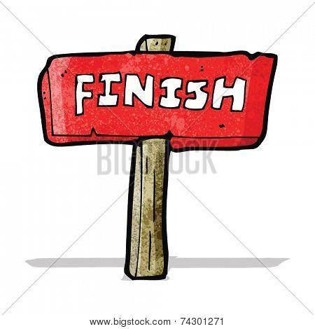 cartoon finish sign