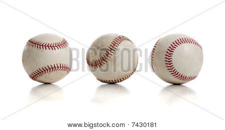 Three Baseballs On White Background