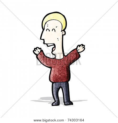 cartoon shouting blond man