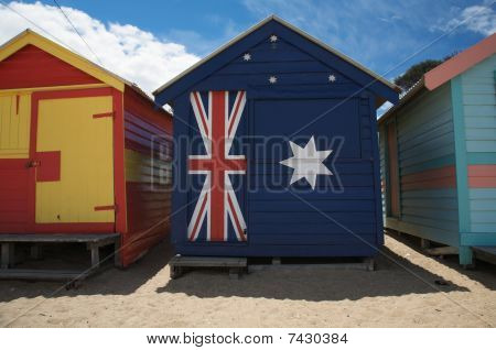 Colourful Beach Huts In Australia