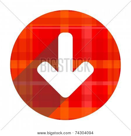 download arrow red flat icon isolated