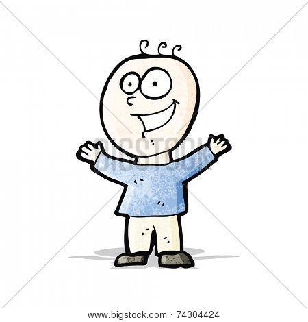 cartoon grinning doodle man