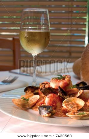 Shrimp Dish With Glass Of White Wine - Clipping Path