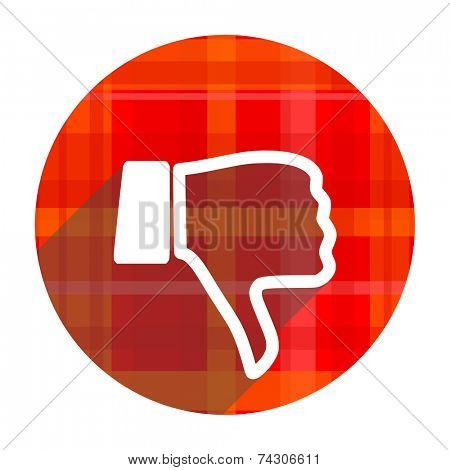 dislike red flat icon isolated