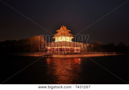Turret of GuGong at night