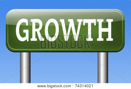 growth grow market stock or business development profit rise increase  sign with text and word