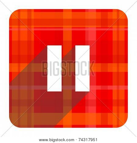 pause red flat icon isolated