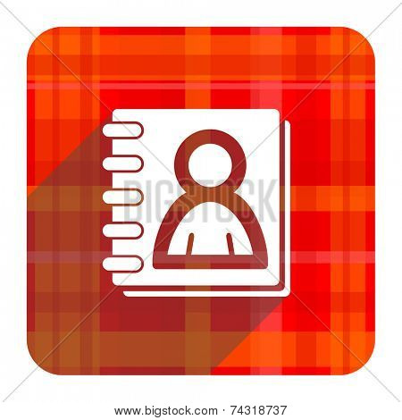 address book red flat icon isolated
