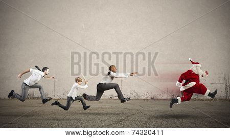 Angry People Chasing Santa Claus