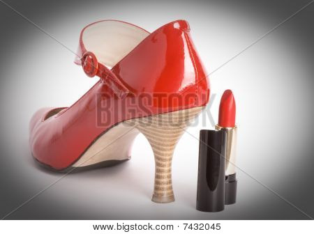 Shoes On A High Heel And Lipstick