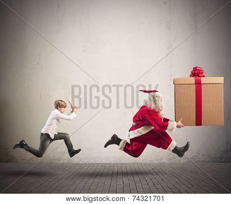 Angry Child Chasing Santa Claus