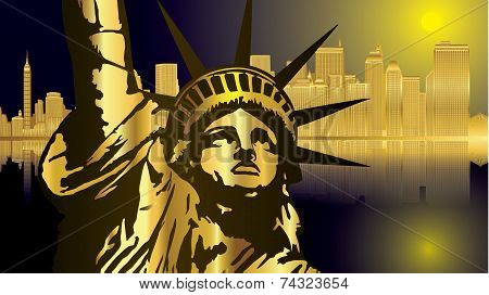 Golden blue New York_Statue