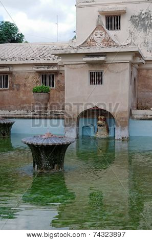 ancient pool at taman sari water castle - the royal garden of sultanate of jogjakarta