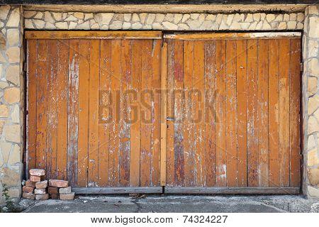 Old Wooden Garage Gate, Background Photo Texture