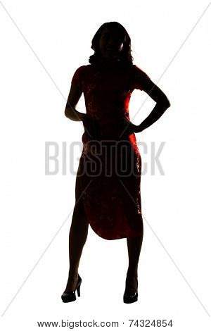 Silhouette of Chinese woman dress traditional cheongsam at New Year, studio shot isolated on white background.