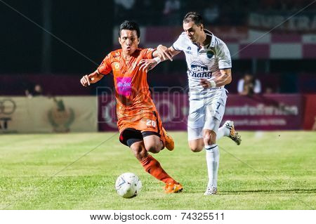 Sisaket Thailand-october 15: Carmelo Gonzalez Of Buriram Utd. (white) In Action During Thai Premier