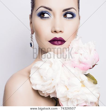 Beautiful Lady With Peonies