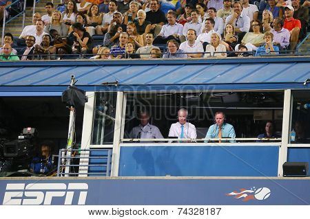 ESPN analysts John McEnroe and Patrick McEnroe comment match at US Open 2014