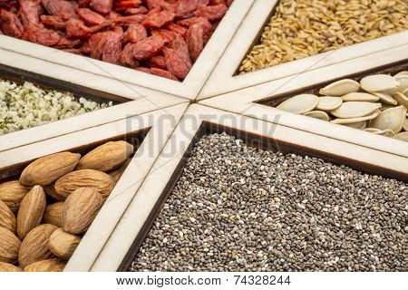 superfood abstract -  chia seeds , dried goji berries, golden flax, pumpkin seeds, almonds and hemp seed hearts