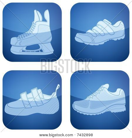 Cobalt Square 2D Icons Set: Sport Shoes