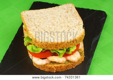 Sandwich With Shrimps, Pesto, Lettuce And Tomato