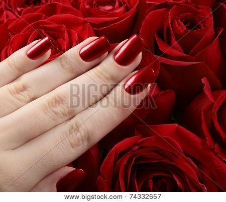 Red Metallic Manicure