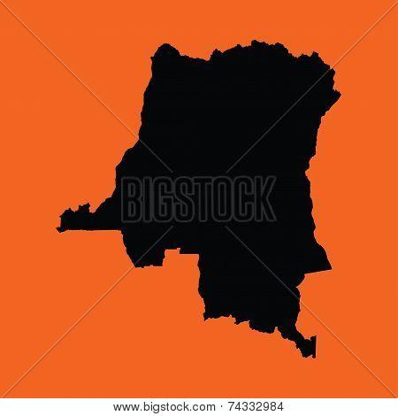 Illustration On An Orange Background Of Democratic Republic Congo