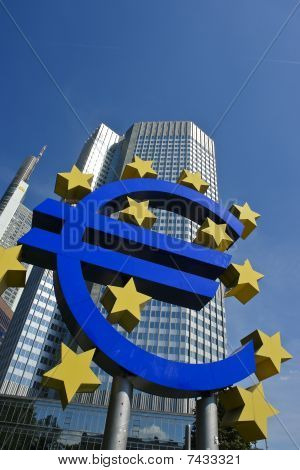 Euro symbol with European Central Bank, Frankfurt Am Main