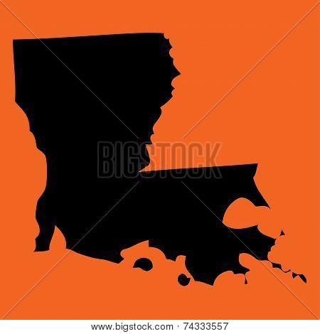 Illustration On An Orange Background Of Louisiana