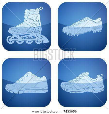 Cobalt Square 2D Icons Set: Sport Shoes