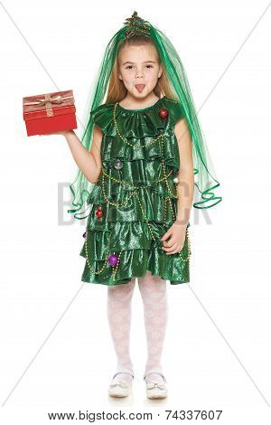 Girl in Christmas tree costume