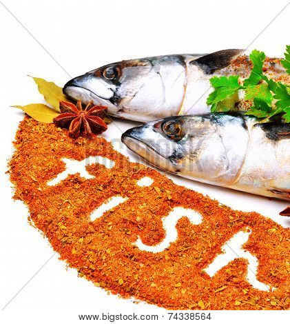 Fresh Mackerel Fish With Parsley and Spices