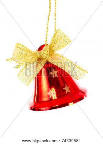 Red Bell With Golden Ribbon Brightened