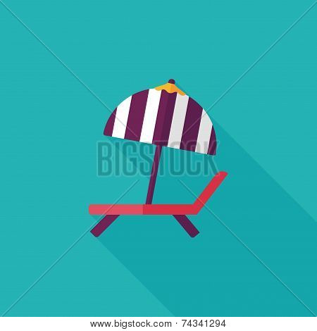 Lounger Beach Sunbed Chair Flat Icon With Long Shadow