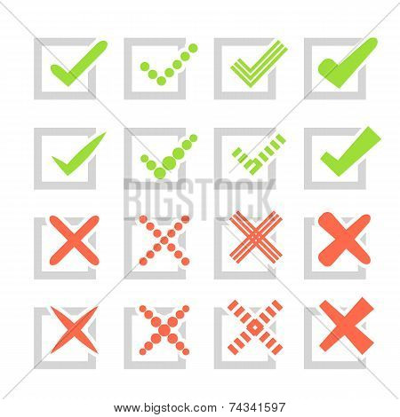 Set of different vector check marks or ticks and crosses