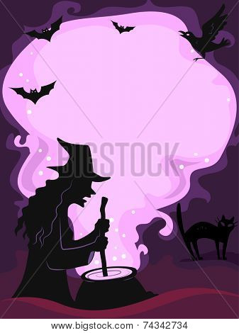 Frame Illustration Featuring the Silhouette of a Witch Making a Potion