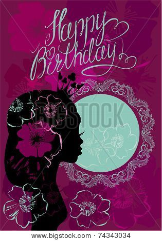 Glamour Girl Portrait Sillouette And Lace Round Frame. Happy Birthday, Little Princess Card.