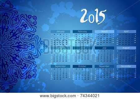 year vector calendar. indian mandala design. calendar vertical - week starts with Sunday