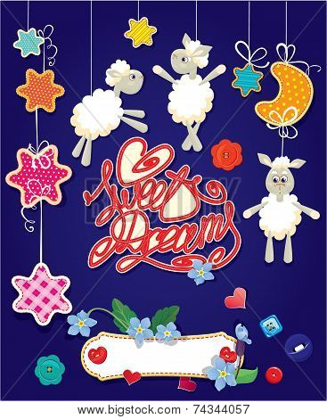 Baby Shower Card With Stars, Moon, Sheep And Hearts. Handwritten Text Sweet Dreams.