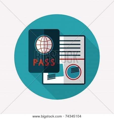 Passport Icon, Flat Icon With Long Shadow