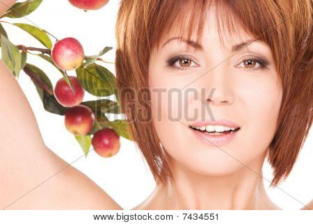 Happy Woman With Apple Twig