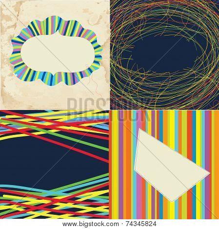 Set of grunge whimsical frames - bright design
