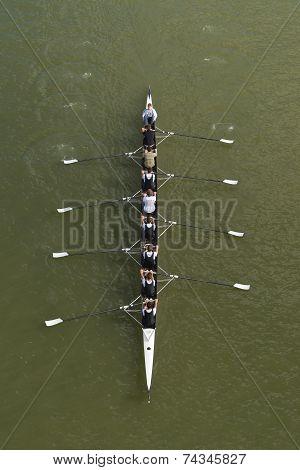 Eight Men Rowing On Danube River