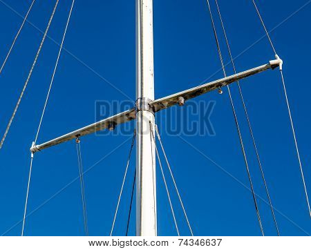 Detail Shot Of Sailing Boat Poles (mainmast Or Sprit) In Marina.